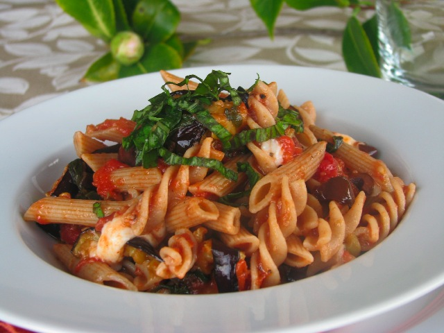 South – Penne and fusilli with grilled eggplant and a basil tomato ...