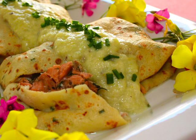... crêpes stuffed with herb marinated salmon and leek mustard sauce