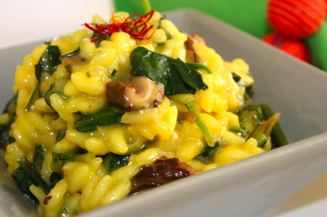 Another risotto story – Saffron risotto with dandelions, spinach and ...