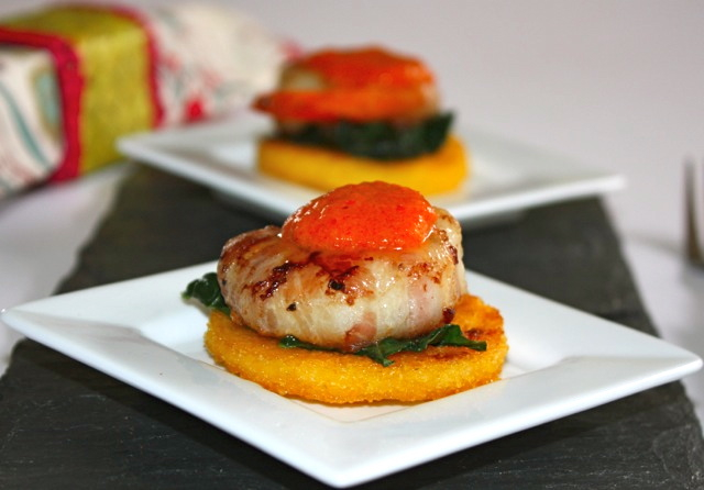 for Florence – Polenta crostini with shrimps wrapped with pancetta ...