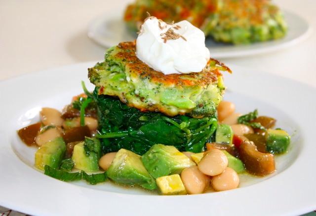 ... , cumin and feta galettes, saute kale, butter bean avocado salad